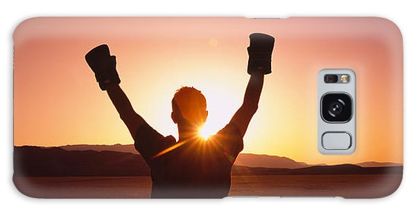 Celebration Galaxy Case - Silhouette Of A Person Wearing Boxing by Panoramic Images