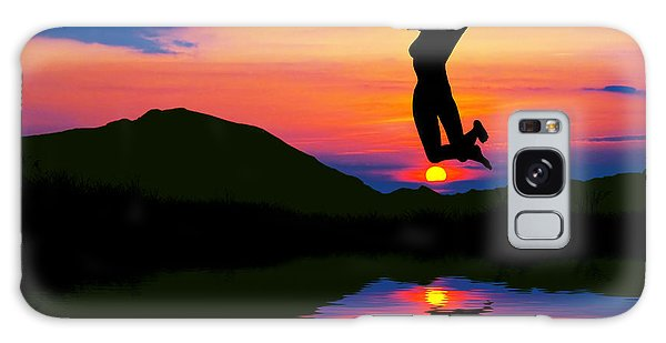 Silhouette Of Happy Woman Jumping At Sunset Galaxy Case