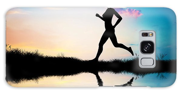 Silhouette Of Woman Running At Sunset Galaxy Case
