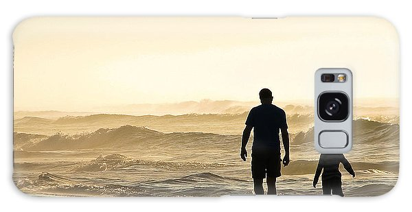 Silhouetted Father And Son Walk Beach  Galaxy Case