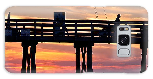 Silhouetted Fisherman On Ocean Pier At Sunrise Galaxy Case