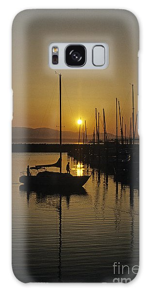 Silhouetted Man On Sailboat Galaxy Case