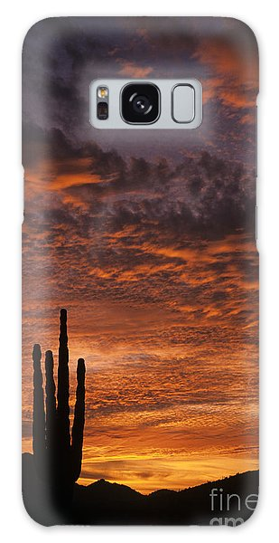 Silhouetted Saguaro Cactus Sunset At Dusk With Dramatic Clouds Galaxy Case