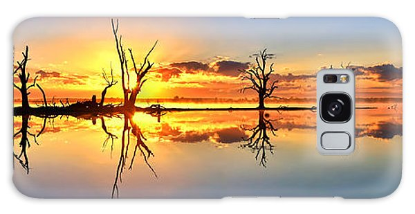 Silhouetted Sential Sunset Galaxy Case by Bill  Robinson
