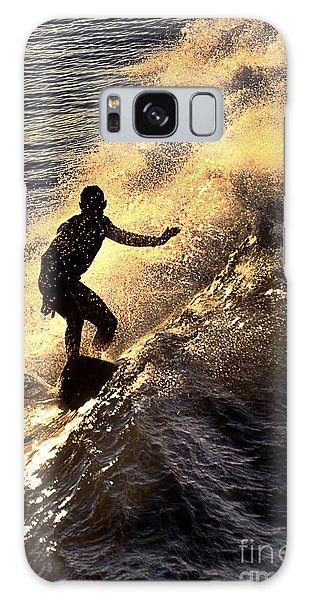 Silhouetted Surfer Galaxy Case