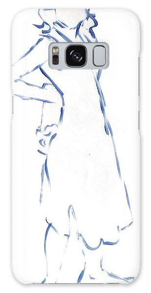 Silhouetted Woman Standing Galaxy Case