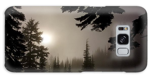 Silhouettes Of Trees On Mt Rainier Galaxy Case