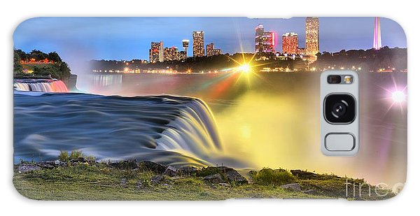 Silky Niagara Falls Panoramic Sunset Galaxy Case by Adam Jewell