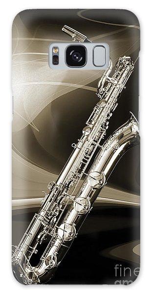 Silver Baritone Saxophone Photograph In Sepia 3459.01 Galaxy Case