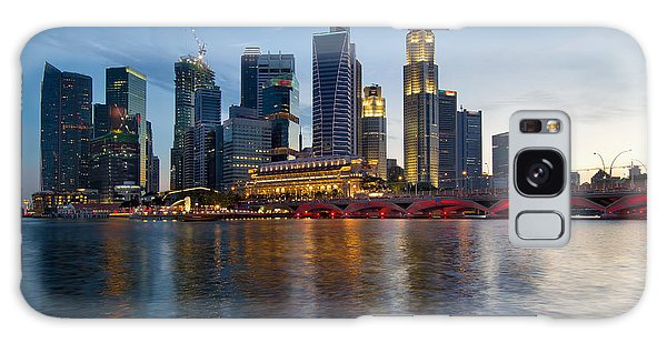 Singapore River Waterfront Skyline At Sunset Galaxy Case by Jit Lim