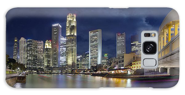 Singapore Skyline From Boat Quay Galaxy Case by Jit Lim