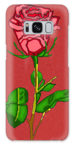 Single Red Rose With Red Background Galaxy Case by Christine Perry