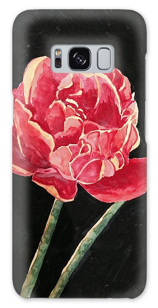 Single Tulip On Black Background Galaxy Case