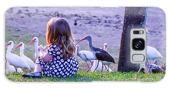Sitting Girl With Ducks Galaxy Case