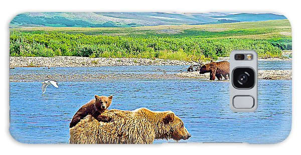 Six-month-old Cub Riding On Mom's Back To Cross Moraine River In Katmai National Preserve-alaska Galaxy Case