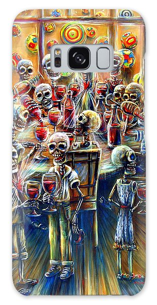 Skeleton Wine Party Galaxy Case by Heather Calderon