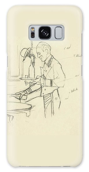 Sketch Of Waiter Pouring Wine Galaxy Case