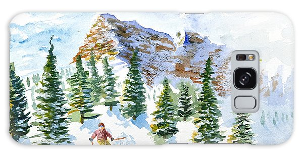 Skier In The Trees Galaxy Case