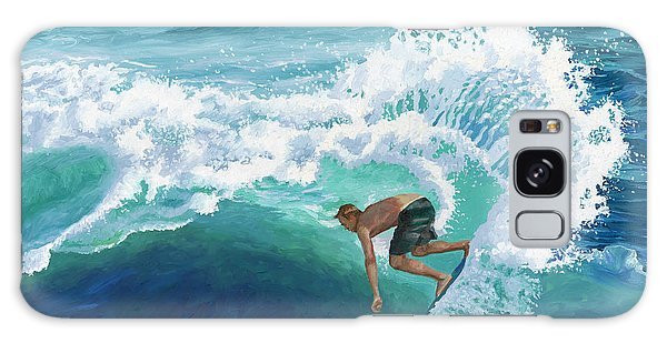 Skimboard Surfer Galaxy Case by Alice Leggett