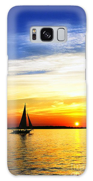 Skipjack Under Full Sail At Sunset Galaxy Case