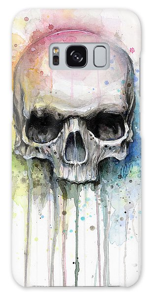 Skull Watercolor Painting Galaxy Case