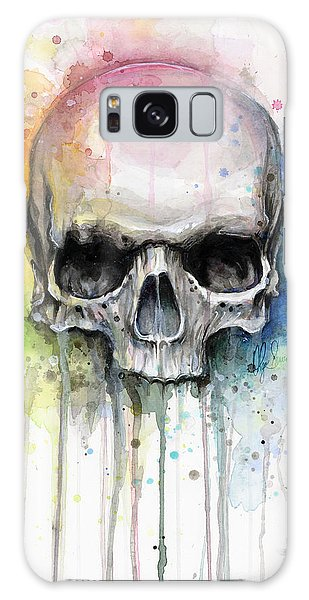 Bright Galaxy Case - Skull Watercolor Painting by Olga Shvartsur