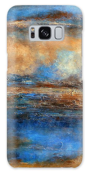 Skyrim A Heavily Textured Blue Brown And Beige Abstract Painting Galaxy Case
