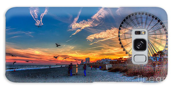 Skywheel Sunset At Myrtle Beach Galaxy Case by Robert Loe