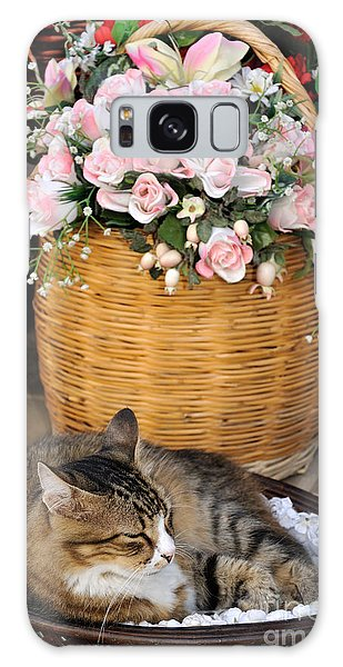Sleeping Cat At Flower Shop Galaxy Case