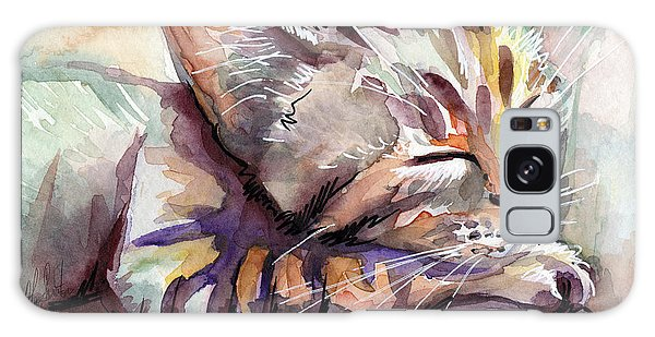Watercolor Pet Portraits Galaxy Case - Sleeping Kitten by Olga Shvartsur