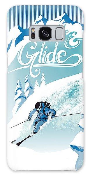 Slide And Glide Retro Ski Poster Galaxy Case