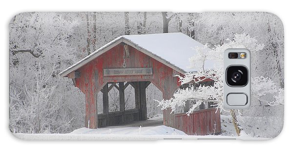 Small Covered Bridge On A Frosty Morning Galaxy Case
