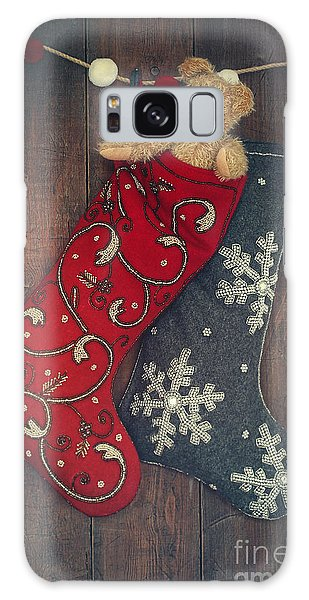 Galaxy Case featuring the photograph Small Teddy Bear In Stocking For Christmas by Sandra Cunningham