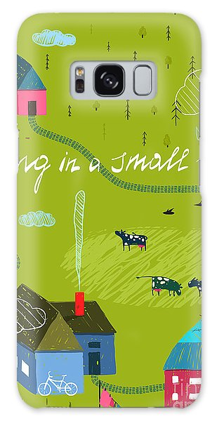 Rural Galaxy S8 Case - Small Town Or Village With Forest And by Popmarleo