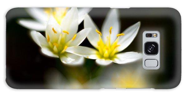 Small White Flowers Galaxy Case by Darryl Dalton