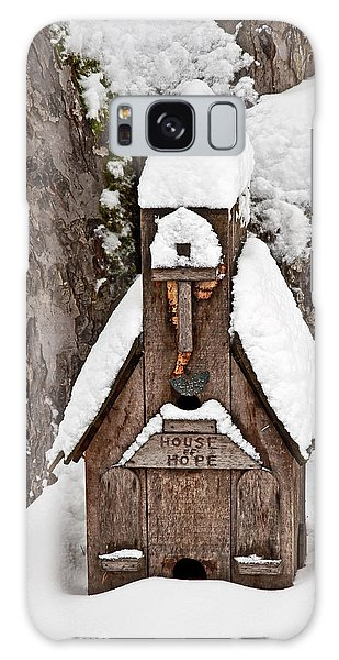 Small Wood Church House Of Hope In Snow Galaxy Case