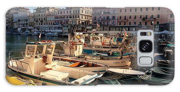 small working fishing boats moored stern first in Anzio harbour Galaxy Case