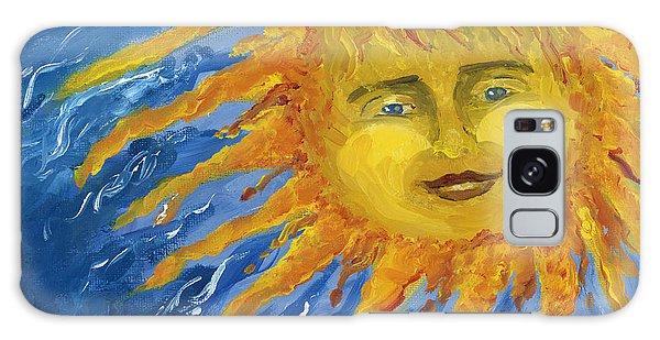 Smiling Yellow Sun In Blue Sky Galaxy Case by Lenora  De Lude
