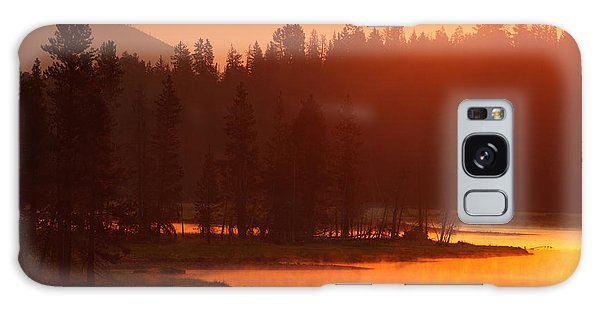 Smoky Sunrise At Yellowstone's Fishing Bridge Galaxy Case