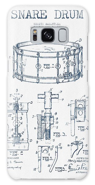Drum Galaxy S8 Case - Snare Drum Patent Drawing From 1910  - Blue Ink by Aged Pixel