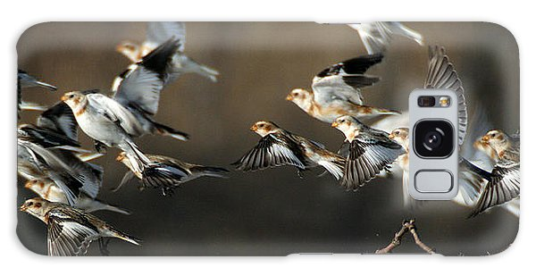 Snow Buntings Taking Flight Galaxy Case