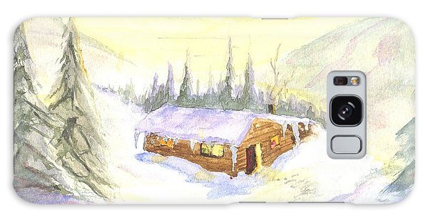 Snow Cabin Welcome Galaxy Case by Sherril Porter