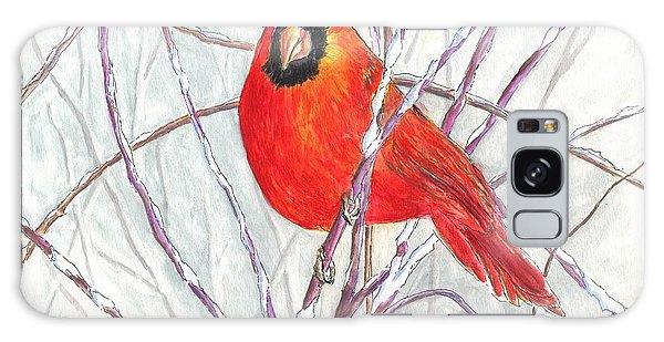 Snow Cardinal Galaxy Case by Carol Wisniewski