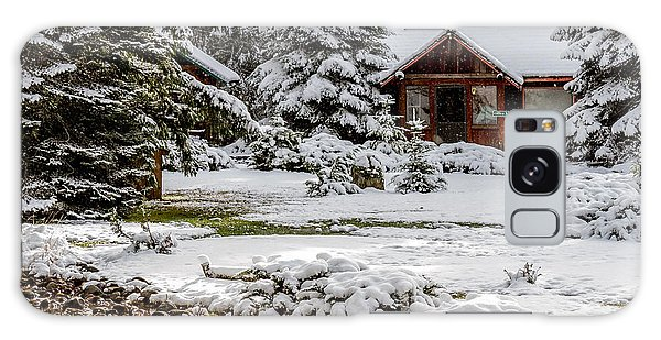 Snow Covered Cabin In The Woods Galaxy Case