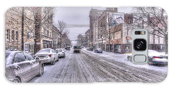 Galaxy Case featuring the photograph Snow Covered High Street And Cars In Morgantown by Dan Friend