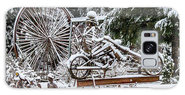 Snow Covered Skeleton Riding A Chopper Galaxy Case
