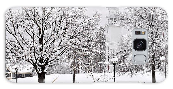 Snow Covered Town Green Galaxy Case