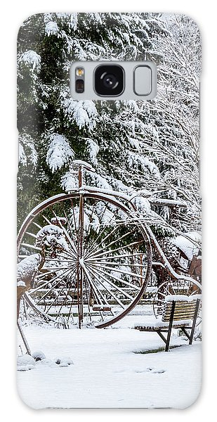 Snow Covered Vintage Iron Bicycle - Fabricated Art Galaxy Case