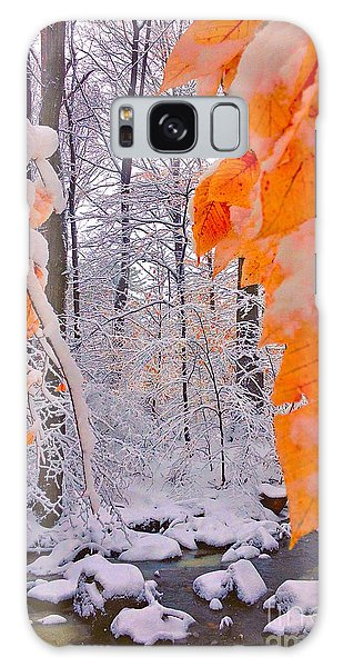 Snow Covered Woods And Stream Galaxy Case by Todd Breitling
