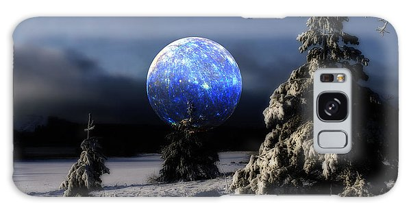 Snow Landscape With Large Surreal Full Moon Galaxy Case by Christian Lagereek